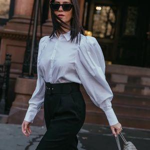 Danielle Bernstein Puff white sleeve shirt